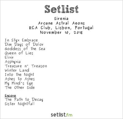Sirenia Setlist RCA Club, Lisbon, Portugal 2018, Arcane Astral Aeons