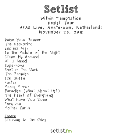 Within Temptation Setlist AFAS Live, Amsterdam, Netherlands 2018, Resist Tour