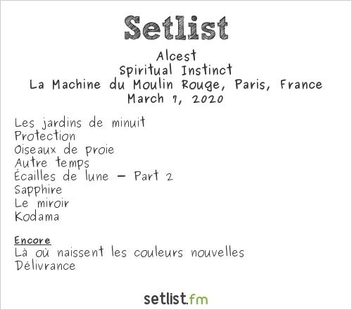 Alcest Setlist La Machine du Moulin Rouge, Paris, France 2020, Spiritual Instinct