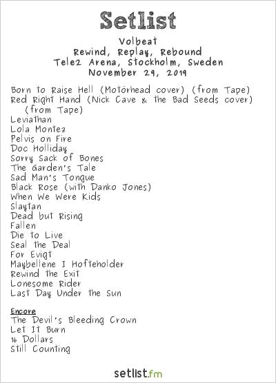 Volbeat Setlist Tele2 Arena, Stockholm, Sweden 2019, Rewind, Replay, Rebound