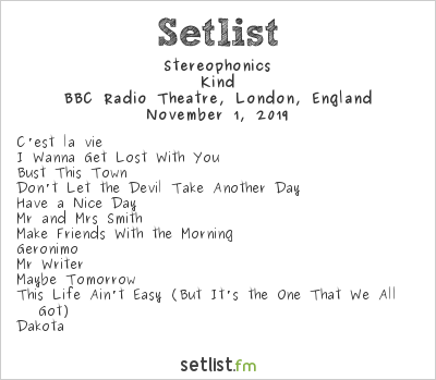 Stereophonics Setlist BBC Radio Theatre, London, England 2019