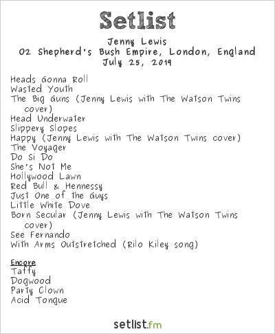 Jenny Lewis Setlist O2 Shepherd's Bush Empire, London, England 2019