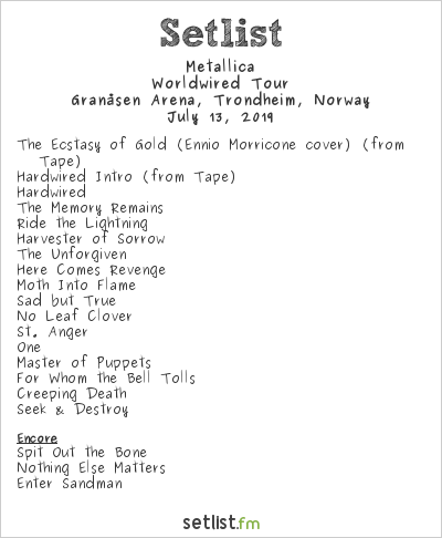 Metallica Setlist Granåsen Arena, Trondheim, Norway 2019, Worldwired Tour