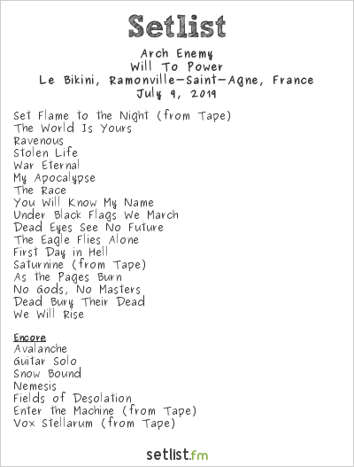 Arch Enemy Setlist Le Bikini, Ramonville-Saint-Agne, France 2019, Will To Power