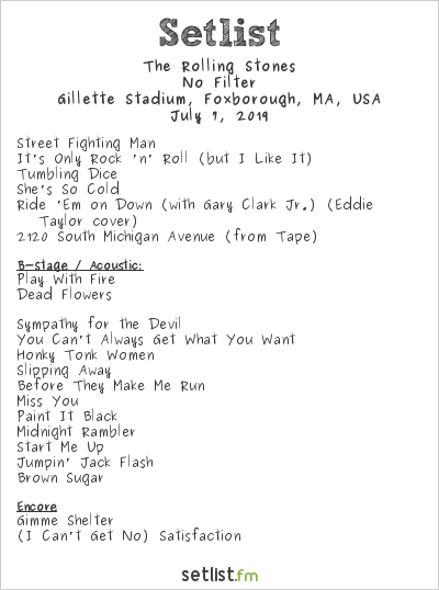 The Rolling Stones Setlist Gillette Stadium, Foxborough, MA, USA 2019, No Filter