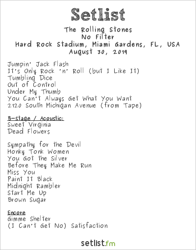 The Rolling Stones Setlist Hard Rock Stadium, Miami Gardens, FL, USA 2019, No Filter