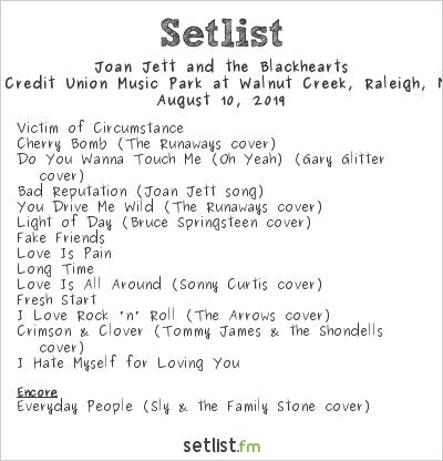 Joan Jett and the Blackhearts Setlist Coastal Credit Union Music Park at Walnut Creek, Raleigh, NC, USA 2019