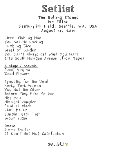 The Rolling Stones Setlist Centurylink Field, Seattle, WA, USA 2019, No Filter