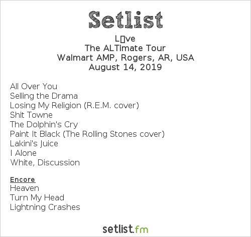Live Setlist Walmart AMP, Rogers, AR, USA 2019, The ALTimate Tour