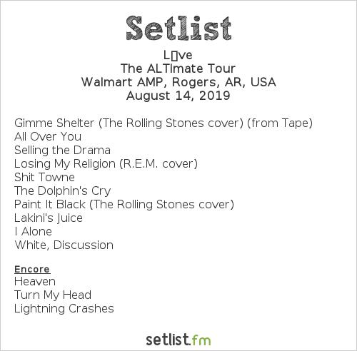 Live Setlist Walmart AMP, Rogers, AR, USA 2019, The ALTimate Tour