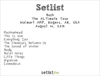 Bush Setlist Walmart AMP, Rogers, AR, USA 2019, The ALTimate Tour