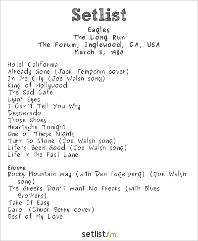 Eagles Setlist The Forum, Inglewood, CA, USA 1980, The Long Run