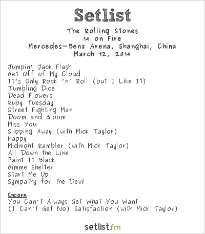 The Rolling Stones Setlist Mercedes-Benz Arena, Shanghai, China 2014, 14 on Fire