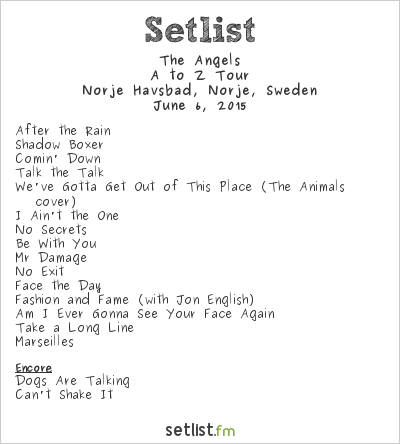 The Angels Setlist Sweden Rock Festival 2015 2015