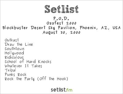 P.O.D. at 98 KUPD U-Fest 2000 Setlist