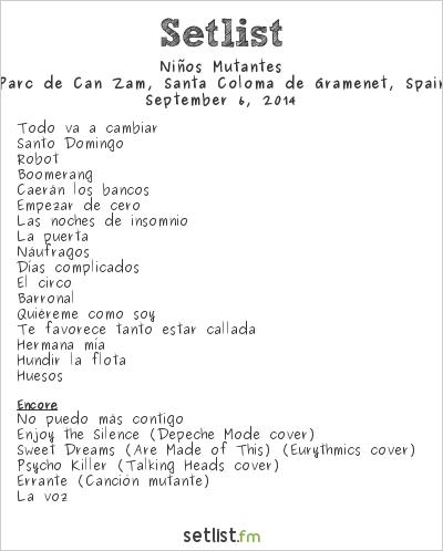 Niños Mutantes Setlist Festival Sintonitzza, Santa Coloma de Gramenet, Spain 2014