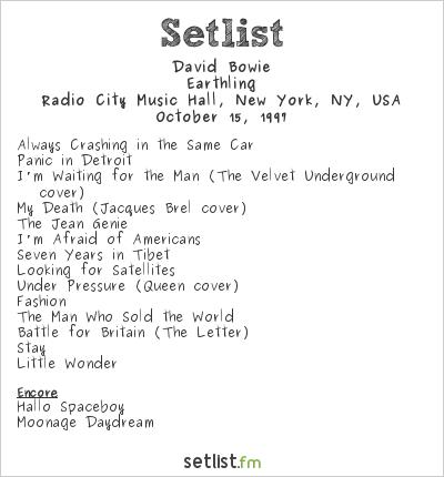 David Bowie Setlist Radio City Music Hall, New York, NY, USA 1997, Earthling Tour