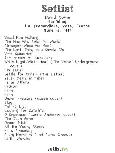 David Bowie Setlist La Trocardière, Rezé, France 1997, Earthling Tour