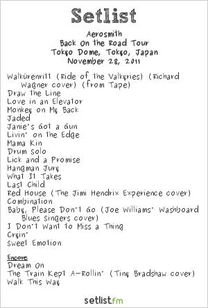 Aerosmith Setlist Tokyo Dome, Tokyo, Japan 2011, Back On the Road Tour
