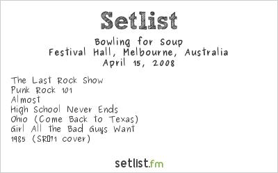 Bowling for Soup Setlist Festival Hall, Melbourne, Australia 2008