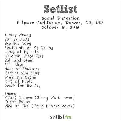 Social Distortion Setlist Fillmore Auditorium, Denver, CO, USA 2010