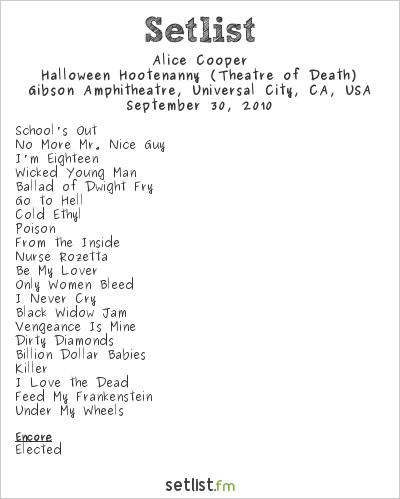 Alice Cooper Setlist Gibson Amphitheatre, Universal City, CA, USA 2010