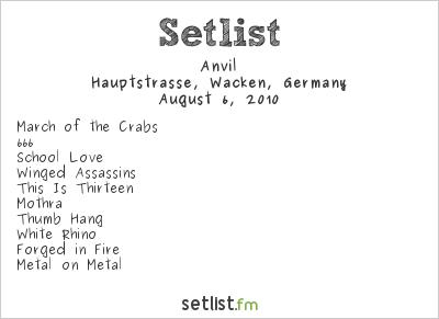 Anvil Setlist Wacken Open Air, Wacken, Germany 2010