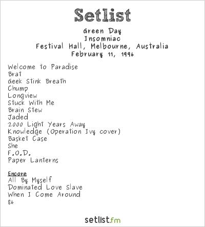 Green Day Setlist Festival Hall, Melbourne, Australia 1996
