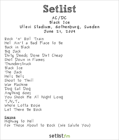 AC/DC Setlist Ullevi Stadium, Gothenburg, Sweden 2009, Black Ice