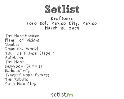 Kraftwerk Setlist Foro Sol, Mexico City, Mexico 2009