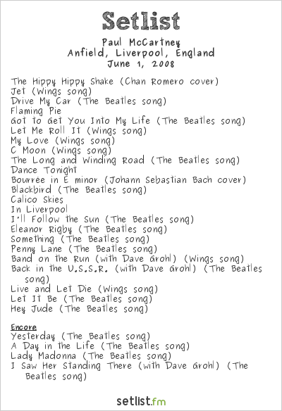 Paul McCartney Setlist The Liverpool Sound 2008