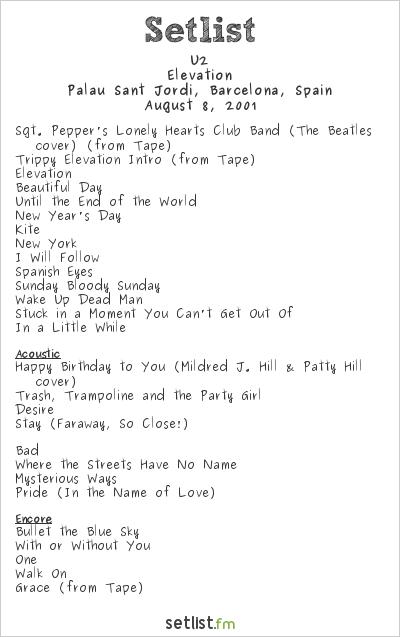 U2 Setlist Palau Sant Jordi, Barcelona, Spain 2001, Elevation