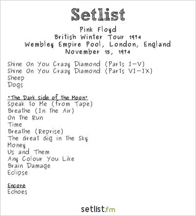 Pink Floyd Setlist Wembley Empire Pool, London, England, British Winter Tour 1974