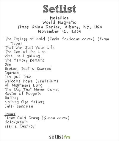 Metallica Setlist Times Union Center, Albany, NY, USA 2009, World Magnetic