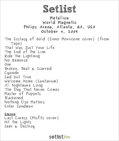 Metallica Concert en Philips Arena, Atlanta, GA, USA Setlist