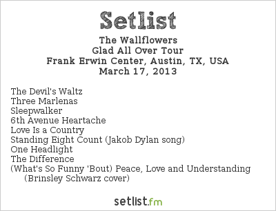 The Wallflowers Setlist Frank Erwin Center, Austin, TX, USA 2013, Eric Clapton 50th Anniversary Tour