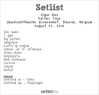 Sigur Rós Setlist Openluchttheater Rivierenhof, Deurne, Belgium 2012, Valtari Tour