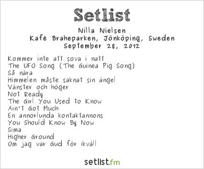 Nilla Nielsen Setlist Kafé Braheparken, Jönköping, Sweden 2012