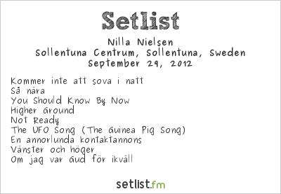 Nilla Nielsen Setlist Sollentuna Centrum, Sollentuna, Sweden 2012