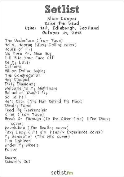 Alice Cooper Setlist Usher Hall, Edinburgh, Scotland 2012, Raise The Dead