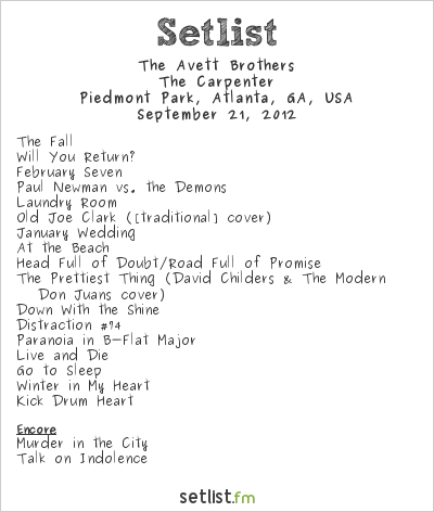 The Avett Brothers at Music Midtown 2012 Setlist