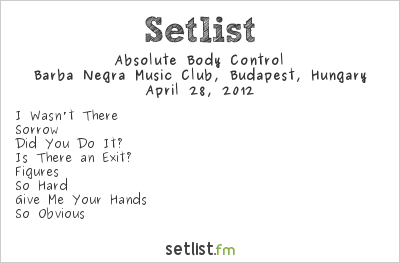 Absolute Body Control Setlist Industrial Booom - Reboot 2012 2012