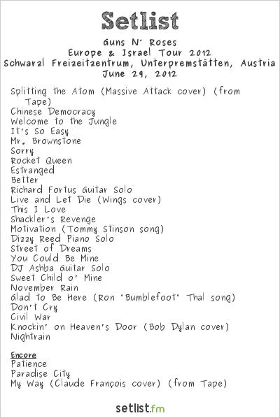 Guns N' Roses Setlist See-Rock Festival 2012 2012, Europe & Israel 2012 Tour