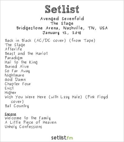 Avenged Sevenfold Setlist Bridgestone Arena, Nashville, TN, USA 2018, The Stage