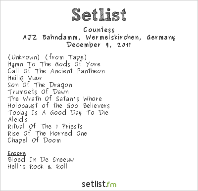Countess Setlist AJZ Bahndamm, Wermelskirchen, Germany 2017