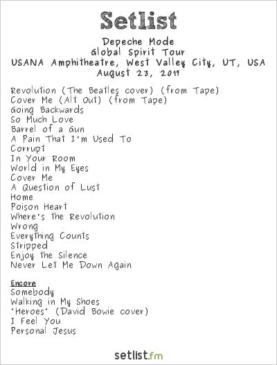 Depeche Mode Setlist USANA Amphitheatre, West Valley, UT, USA 2017, Global Spirit Tour