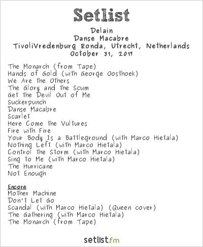 Delain Setlist TivoliVredenburg Ronda, Utrecht, Netherlands 2017, Danse Macabre