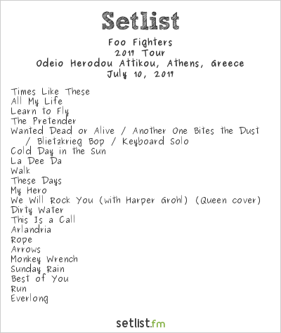 Foo Fighters Setlist Odeio Herodou Attikou, Athens, Greece 2017, 2017 European Tour