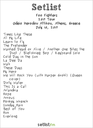 Foo Fighters Setlist Odeio Herodou Attikou, Athens, Greece 2017, 2017 European Tour