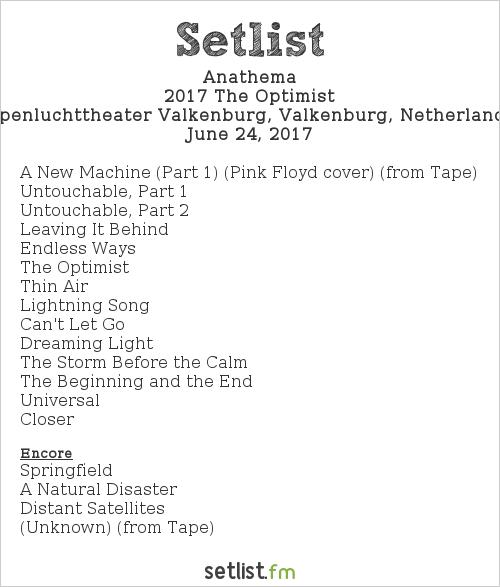 Anathema Setlist Midsummer Prog Festival 2017 2017, 2017 The Optimist